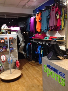 View to right shop front at Weybrdige Sports